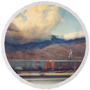 Morning Train Round Beach Towel by Laurie Search