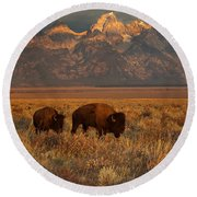 Morning Travels In Grand Teton Round Beach Towel