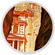 Morning View Of The Treasury From The Gorge In Petra-jordan  Round Beach Towel