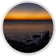 Morning Water Colors Round Beach Towel