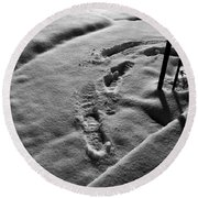Mornings First Footprints  Round Beach Towel