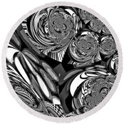 Moroccan Lights - Black And White Round Beach Towel