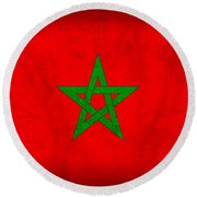 Morocco Flag Vintage Distressed Finish Round Beach Towel