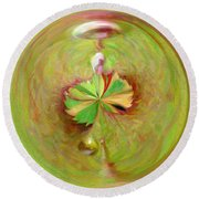 Morphed Art Globe 21 Round Beach Towel by Rhonda Barrett