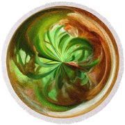 Morphed Art Globes 16 Round Beach Towel by Rhonda Barrett