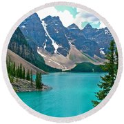 Morraine Lake In Banff Np-alberta Round Beach Towel