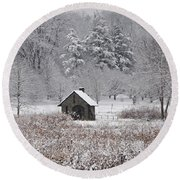 Morris Arboretum Mill In Winter Round Beach Towel