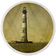 Morris Island Light Vintage Bw Uncropped Round Beach Towel