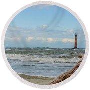 Morris Island Light With Driftwood Round Beach Towel