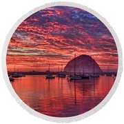 Morro Bay On Fire Round Beach Towel