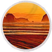 Morro Rock Painting Round Beach Towel