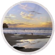 Morro Rock Park Round Beach Towel