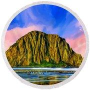 Morro Rock Sunset Round Beach Towel