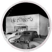 Mortimers Dining  Dancing Marina California  Circa 1948 Round Beach Towel