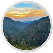 Mortons Overlook Smoky Mountain Sunset Round Beach Towel