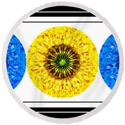 Mosaic Blue Circles With Yellow Round Beach Towel