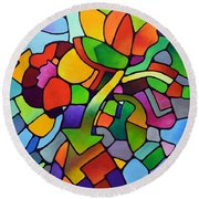 Mosaic Bouquet Round Beach Towel