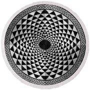 Mosaic Circle Symmetric Black And White Round Beach Towel