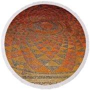Mosaic Floor In Bergama Museum-turkey Round Beach Towel