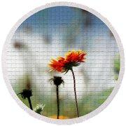 Mosaic Flower Round Beach Towel