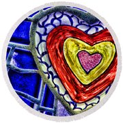 Mosaic Heart By Diana Sainz Round Beach Towel