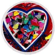 Mosaic Heart Round Beach Towel