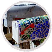 Mosaic Mailbox On The Turquoise Trail In New Mexico Round Beach Towel