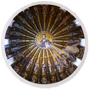 Mosaic Of Christ Pantocrator Round Beach Towel