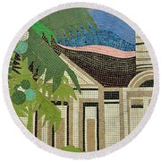 Mosaic Of Church With Palm Tree Round Beach Towel