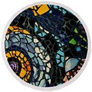 Mosaic Pattern On Wall Round Beach Towel