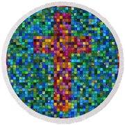 Mosaic Tile Cross Round Beach Towel