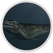 Mosasaur Swimming In Prehistoric Waters Round Beach Towel