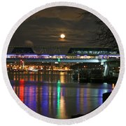 Moscow At Night In Winter Round Beach Towel