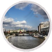 Moscow River - Russia Round Beach Towel