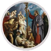 Moses And The Brazen Serpent Round Beach Towel