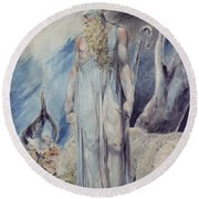 Moses And The Burning Bush Round Beach Towel