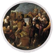 Moses And The Water From The Stone Round Beach Towel