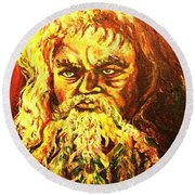 Moses At The Burning Bush Round Beach Towel