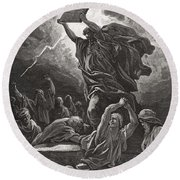 Moses Breaking The Tablets Of The Law Round Beach Towel by Gustave Dore