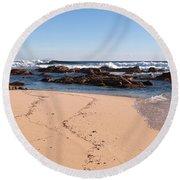 Moses Rock Beach 02 Round Beach Towel