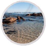 Moses Rock Beach 04 Round Beach Towel