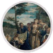 Moses Saved From The Waters Round Beach Towel