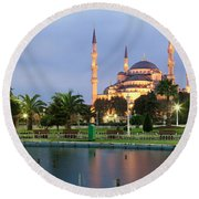 Mosque Lit Up At Dusk, Blue Mosque Round Beach Towel