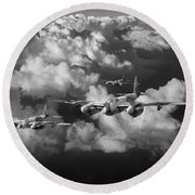 Mosquitos Above Clouds Black And White Version Round Beach Towel