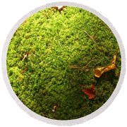 Moss And Leaves Round Beach Towel
