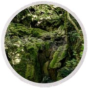 Moss And Stones By The Turquoise Forest Pond On A Summer Day No4 Round Beach Towel