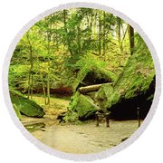 Moss Covered Rocks In Forest, Rocky Round Beach Towel
