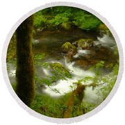 Moss Covered Trees Foregound Eagle Creek Round Beach Towel