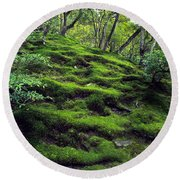 Moss Forest In Kyoto Japan Round Beach Towel