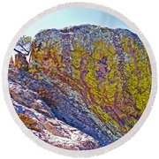 Moss On Giant Rocks Along Echo Canyon Trail In Chiricahua National Monument-arizona  Round Beach Towel